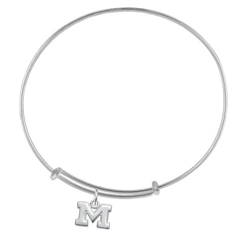 Sterling Silver Univ of Michigan Charm Adjustable Bracelet