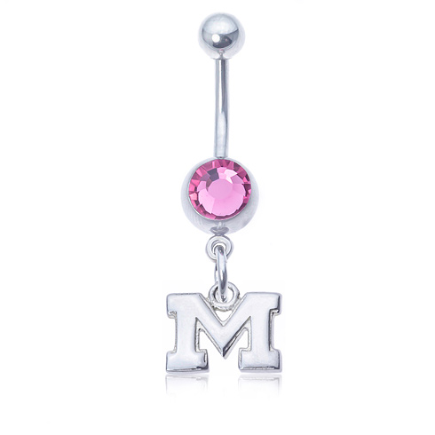 Michigan Wolverines Pink Belly Button Ring