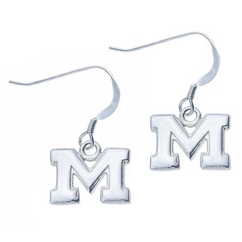 Sterling Silver University of Michigan M Dangle Earrings