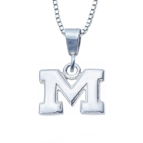 Sterling Silver 16in University of Michigan M Charm Necklace