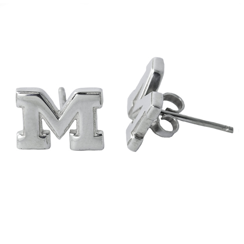 Sterling Silver University of Michigan Post Earrings
