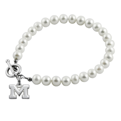Sterling Silver University of Michigan White Pearl Bracelet