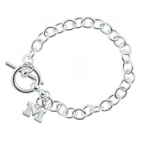 Sterling Silver 7 1/2in University of Michigan Link Bracelet