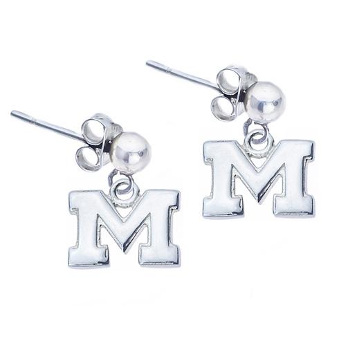 Sterling Silver Post Dangle Michigan Earrings