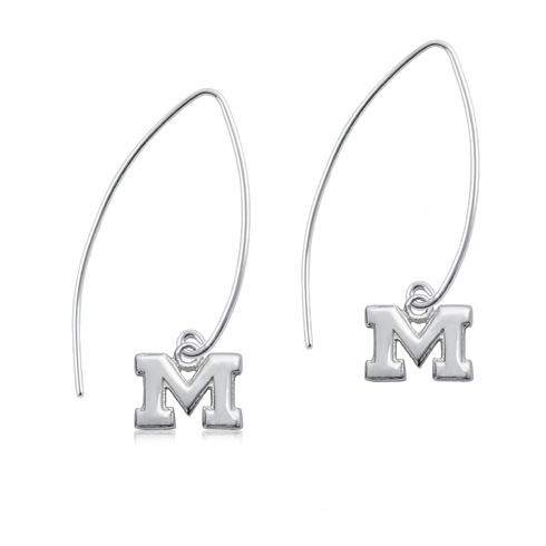 Sterling Silver University of Michigan Long Fishhook Earrings