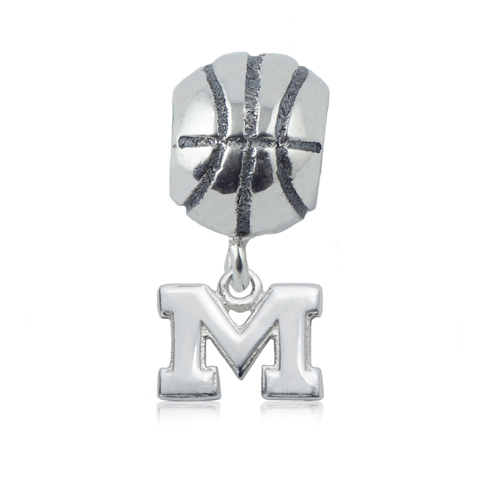 Sterling Silver University of Michigan Basketball Bead