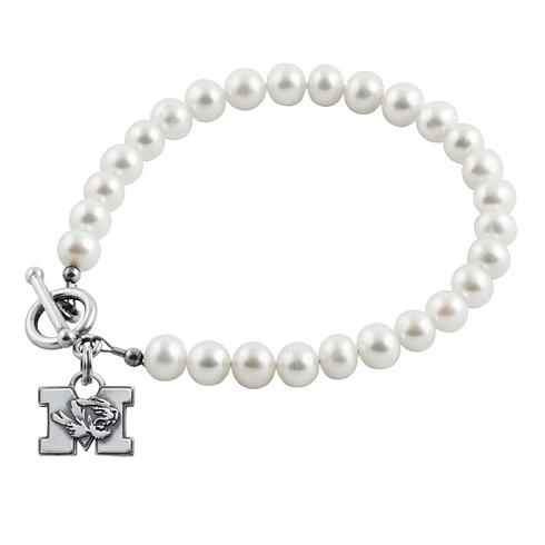 Sterling Silver University of Missouri White Pearl Bracelet