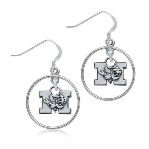 Sterling Silver University of Missouri Open Drop Earrings