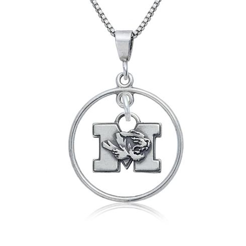 Sterling Silver University of Missouri Open Drop Necklace