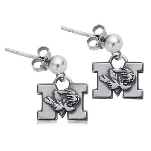 Sterling Silver University of Missouri Post Dangle Earrings