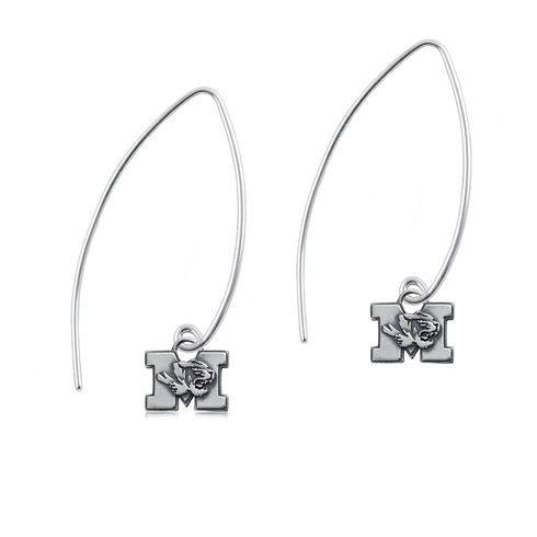 Sterling Silver University of Missouri Long Fishhook Earrings