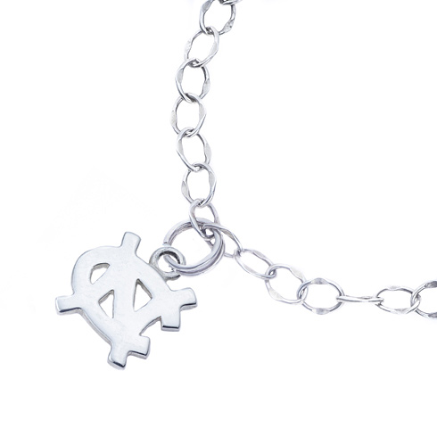 Sterling Silver University of North Carolina Charm Bracelet