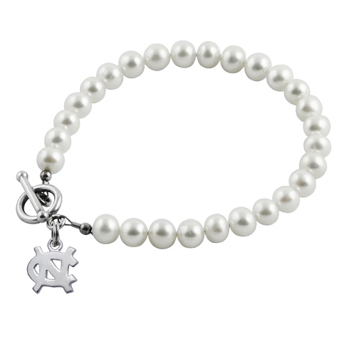 Sterling Silver Univ of North Carolina White Pearl Bracelet