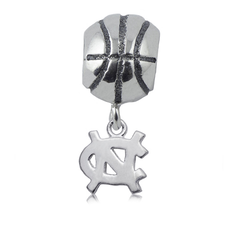 Sterling Silver UNC Basketball Dangle Charm Bead