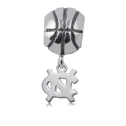 Sterling Silver UNC Basketball Dangle Charm Bead