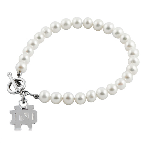 Sterling Silver University of Notre Dame White Pearl Bracelet