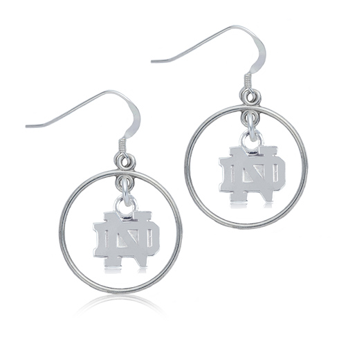 Sterling Silver University of Notre Dame Open Drop Earrings