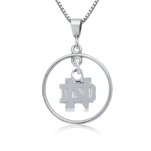 Sterling Silver University of Notre Dame Open Drop 16in Necklace