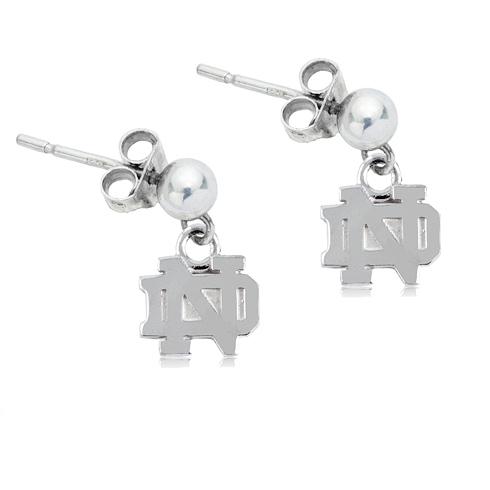Sterling Silver University of Notre Dame Post Dangle Earrings