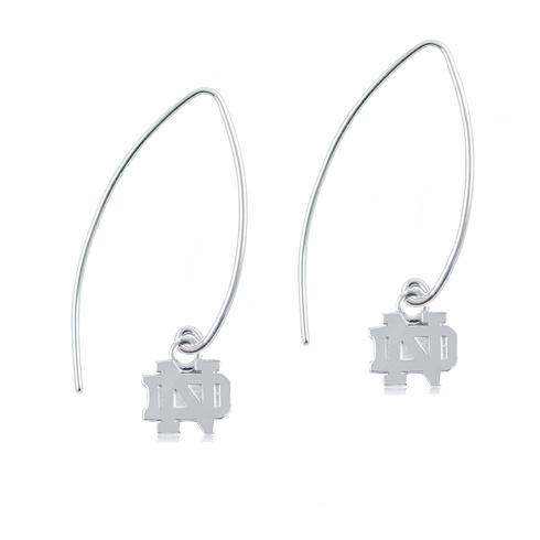 Sterling Silver University of Notre Dame Long Fishhook Earrings