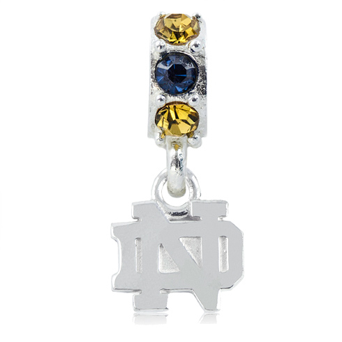 Sterling Silver University of Notre Dame Spirit Charm Bead
