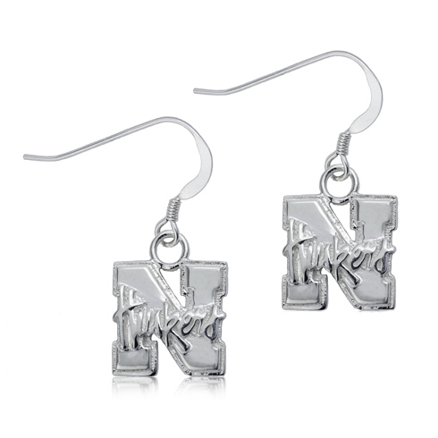 Sterling Silver University of Nebraska Dangle Earrings
