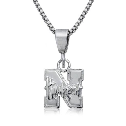 Sterling Silver 16in University of Nebraska Charm Necklace