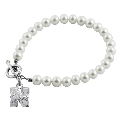 Sterling Silver 7 1/2in University of Nebraska White Pearl Bracelet