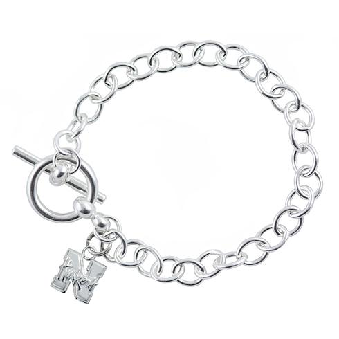Sterling Silver 7 1/2in University of Nebraska Link Bracelet