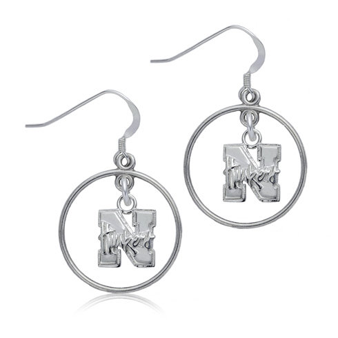 Sterling Silver University of Nebraska Open Drop Earrings