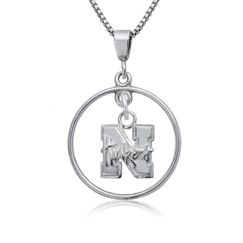 Sterling Silver University of Nebraska Open Drop Necklace
