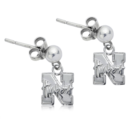Sterling Silver University of Nebraska Post Dangle Earrings