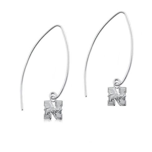 Sterling Silver University of Nebraska Long Fishhook Earrings