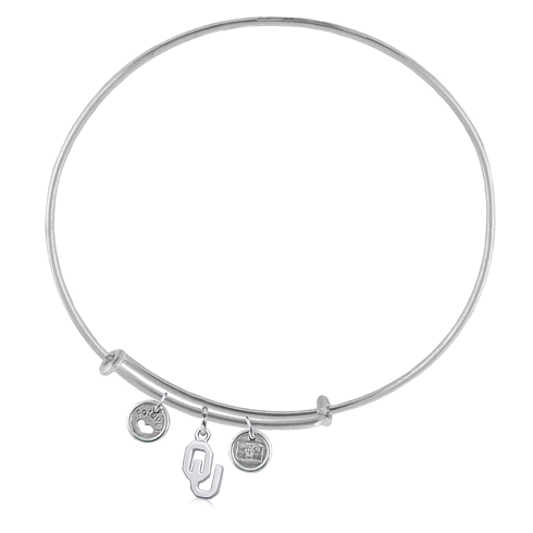 Sterling Silver Univ of Oklahoma Adjustable Bracelet with Charms