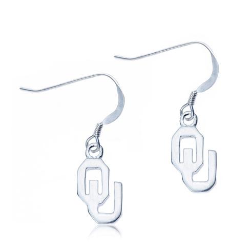 Sterling Silver University of Oklahoma Dangle Earrings