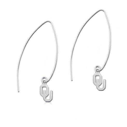 Sterling Silver University of Oklahoma Long Fishhook Earrings