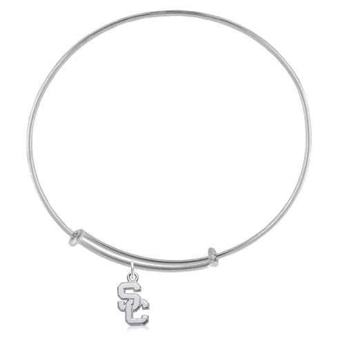Sterling Silver 7 3/4in USC Charm Adjustable Bracelet