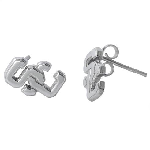 Sterling Silver USC Post Earrings