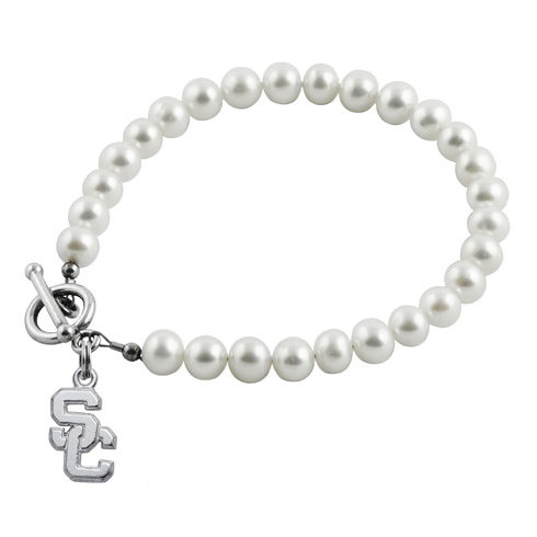 Sterling Silver USC White Pearl Bracelet