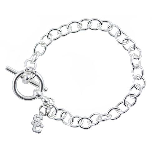 Sterling Silver 7.5in University of Southern California Link Bracelet