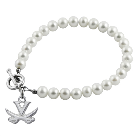 Sterling Silver University of Virginia White Pearl Bracelet