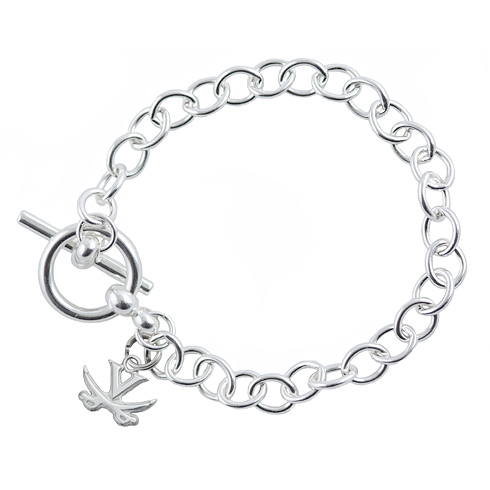 Sterling Silver 7 1/2in University of Virginia Link Bracelet