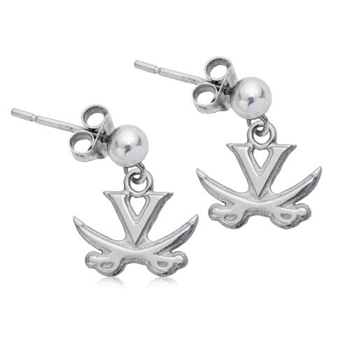 Sterling Silver University of Virginia Post Dangle Earrings