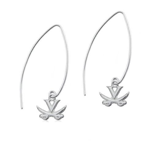 Sterling Silver University of Virginia Long Fishhook Earrings
