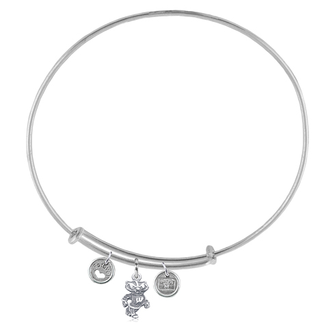 Sterling Silver Univ of Wisconsin Adjustable Bracelet with Charms
