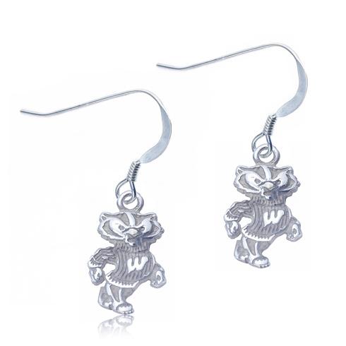 Sterling Silver University of Wisconsin Dangle Earrings