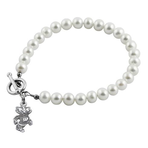 Sterling Silver University of Wisconsin White Pearl Bracelet