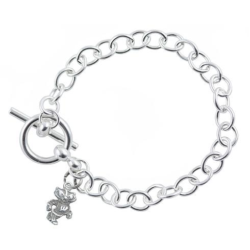 Sterling Silver 7 1/2in University of Wisconsin Link Bracelet