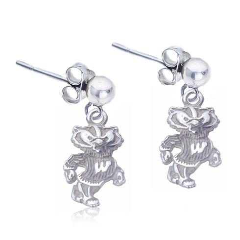 Sterling Silver Post Dangle Wisconsin Earrings