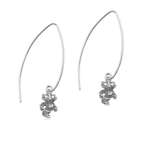 Sterling Silver University of Wisconsin Long Fishhook Earrings